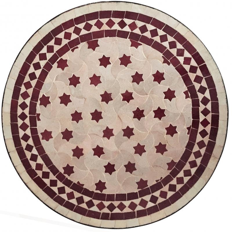 Détails sur Marocain Table en Mosaïque Bistrotisch en Mosaïque Rafraf  Bordeaux/Beige D60cm