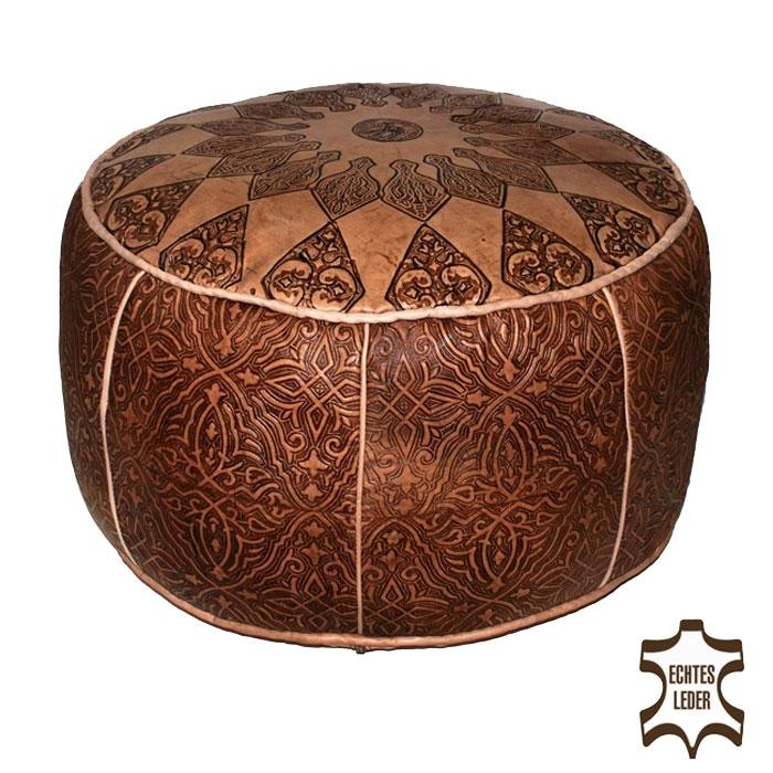 orientalische leder sitzkissen hocker handarbeit. Black Bedroom Furniture Sets. Home Design Ideas