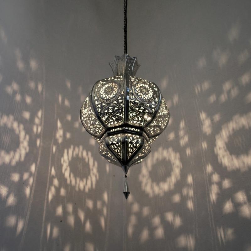 orientalische lampe marokkanische h ngeleuchte yamina silber handarbeit h55cm ebay. Black Bedroom Furniture Sets. Home Design Ideas
